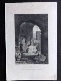 Roscoe & Prout 1832 Antique Print. Temple of Peace, Rome, Italy
